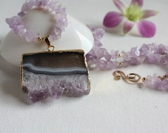 Lavender Amethyst Necklace with Amethyst Crystal Cluster Pendant