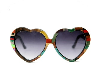 Heartfetti Wood Veneer Sunglasses