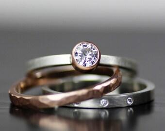modern wedding band set, gold and diamond stacking wedding ring set, handmade engagement ring, womens wedding ring set, mens wedding ring