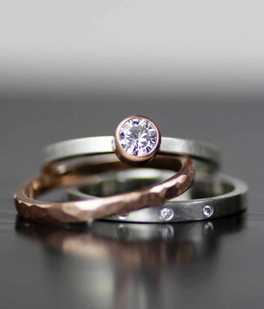 Modern Wedding Band Set Gold And Diamond Stacking Wedding