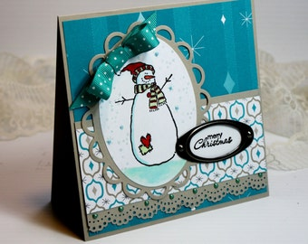 "Christmas Card - Handmade Greeting Card - 5.25 x 5.25"" - Merry Christmas-  Stampin Up - 3D Card - Snowman Teal Holiday Card"