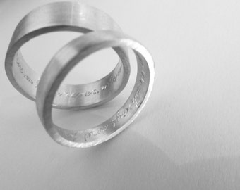 wedding bands set wedding rings set with engraving 7mm and 3.5mm