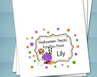Personalized Halloween Favor Bags - Cupcake and Candy In Fancy Frame - Party Favor Bags, Class Party Bags, Candy Bags, Trick or Treat Bags