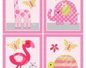 Set of 4  Unframed (Snoozing Safari Girl Animals) 8x10 Nursery Art Prints