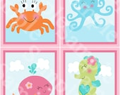 """Set of 4  Unframed """"Under the Sea/Pink Whale/Girl Ocean life/Octopus/Seahorse/Crab"""" 8x10 inch Nursery Wall Art Prints Baby Kids Decor"""