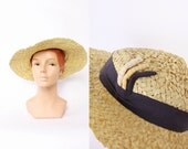 30s Yellow Wide Brim STRAW HAT / 1930s Navy Blue Ribbon Detail / NRA Label