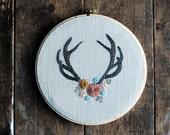 Antler Hoop Art - Hand Embroidered Hoop Art - Antler with Flowers, Antler Wall Decor