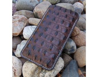 iPhone Sleeve - Italian Hornback Gator Embossed Leather pick your phone model, iPhone 6, iPhone 6 Plus, GS6 Edge Plus, Galaxy Note 5