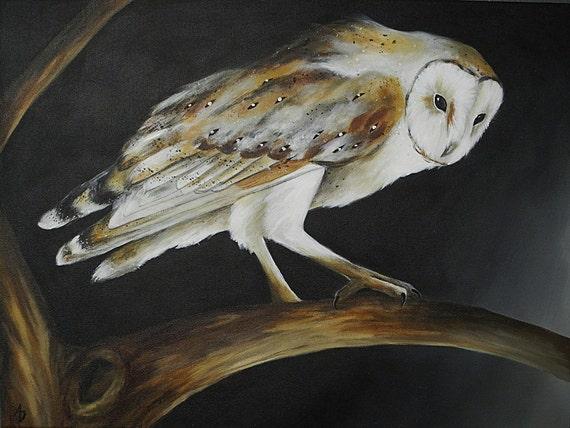 Barn Owl on Branch canvas painting, bird artwork original, fine art 18x24 custom
