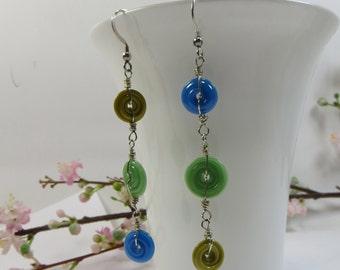 Asymmetric Handmade Earrings, Artist Made Handmade Glass Discs Blue Gold and Mustard, Long Linear Lampwork Earrings in 925 Sterling Silver