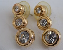 Vintage earrings, swan mark Swarovski triple crystal stud earrings, bridal jewelry