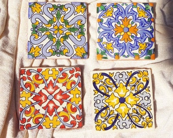 Talavera Coasters with Non-Skid Finish, Ribbons of Color