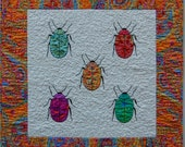 Bright Hand Appliqued and Hand Embroidered Insect Quilt