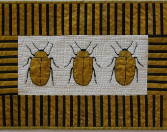 Gold Beetle Silk Wall Hanging