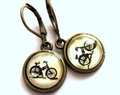 Bicycle Earrings Bronze Black Bike Hippy Boho Fashion Jewelry