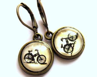 Bicycle Earrings Bike Glass Boho Fashion Jewelry