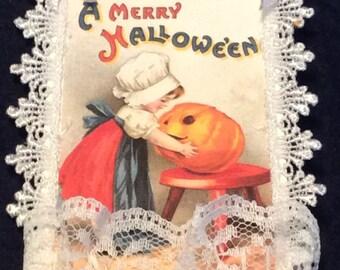 Halloween Gift Tag, Vintage Tag, Hang Tag, Pumpkin Gift Tag, Lace Tag, OOAK