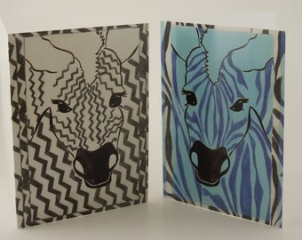 Zebra Cards - Two Card Set - Blank Inside - Monkey Brains Design