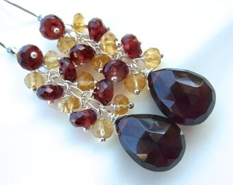 Garnet and Citrine Cascade and Burgundy Red Garnet Drop Cluster Earrings on Sterling Silver