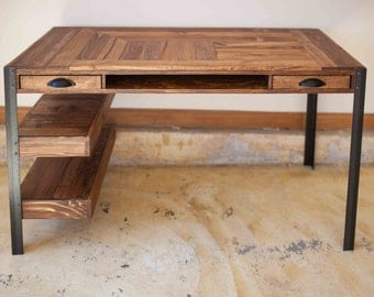 Pallet Wood Desk with 2 Drawers, Center Shelf and 2 Lower Shelves