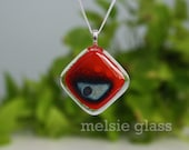 Red Recline red glass pendant, with silver foil design