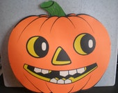 Vintage Mid Century Paper Halloween Pumpkin Decoration