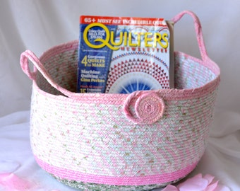 Decorative Gift Basket, Handmade Coiled Fabric Basket, Pretty Moses Basket, Lovely Tote Bag, Picnic Basket, Pink and Green Book Shoe Bin