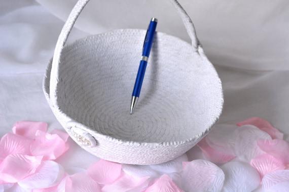 Flower Girl Basket, Handmade White Wedding Basket with Pearl Florette, Lovely White Glitter Basket, White Card Holder