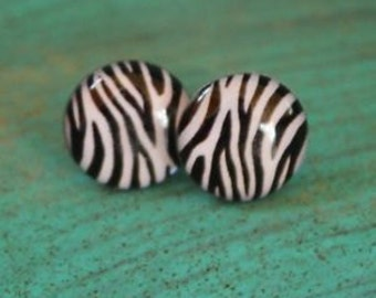 Zebra Print Stud Earrings, rockabilly style, 50s, 60s jewelry