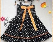 Girls black and white polka-dot dress, Halloween dress for girls, Black and white dress for toddler, orange polka-dot bow
