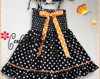 Girls black and white polka-dot dress, Halloween dress for girls, Black and white dress for toddler, orange polka-dot bow