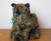 Vintage Cat - Manx Cat - Brown Cat - Vintage Kitten - Soft Toy Cat - 1970's Toy Cat
