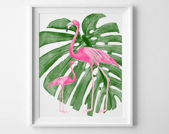 Nursery Art Flamingo Nautical Beach Ocean Miami