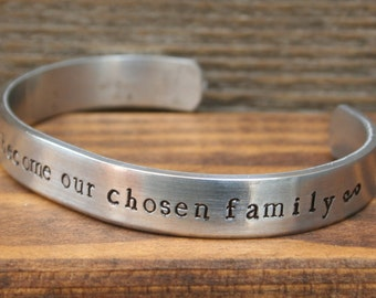 Friendship Bracelet Friends Become Our Chosen Family Best Friend Hand Stamped Cuff Aluminum NEW 12g Metal Thicker Sturdier Great Gift