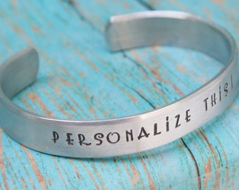 Cuff Bracelet Aluminum Personalized For You Names Dates Anniversary Achievements Birthday Gift Sturdy 12g Silver Aluminum Custom