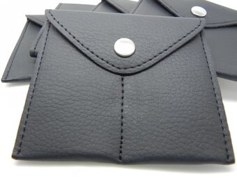 Cufflink Pouch - Black Jewelry Pouch - Double Pocket Jewelry Bag - Black Cufflink Storage Pouch - Soft Lined Cufflink Travel Pouch