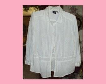 Women's Sonoma White On White Vintage Shirt Top Tunic Blouse Button Front Pintucks Pin Tucks Size Large