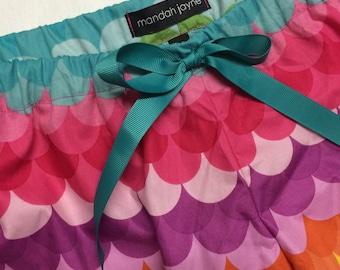 Multi Coloured Scallops - Womens Pyjama Shorts