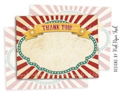 Circus Theme Party Thank You Car, Instant Download, Print Your Own, Carousel, Carnival