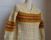Hand Knit Sweater Vintage Wool Sweater 1970s Colors Open Knit Sweater Cream with Gold Green and Orange Stripe Size Medium Granny Love