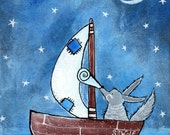 Big Bad Wolf Art Print Nursery Wall Art Childrens Room Decor Kids Nursery Rhyme Fairy Tale Artwork Blue Sailboat Cute Whimsical Illustration