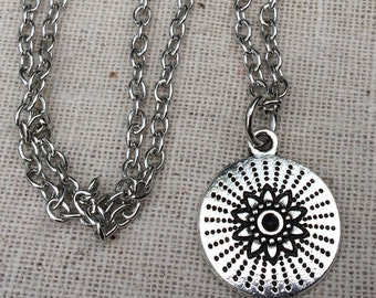 Silver Flower Pendant - Silver Starburst Necklace - Simple Everyday Silver Necklace