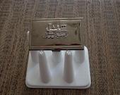 Embellished Gunmetal-Plated Business Card Case with Vintage Locomotive Embellishment