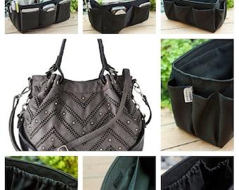 Purse ORGANIZER Insert - Bag Organizer - Solid Black /  Large 25x10cm