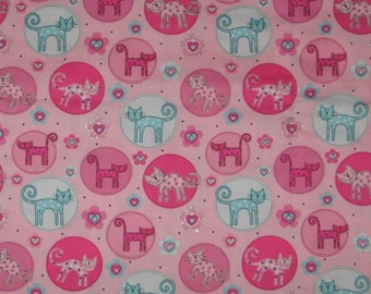"""Cats pink and blue fabric - only 2 Fat Quarters 18"""" x 22"""" available quilting craft fabric destash"""