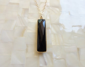 Large Step-Cut Faceted Black Onyx Rectangular Elongated Bar Vermeil Bezel Pendant on Gold Chain Necklace (N1655)