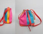 1990s IMAGNIN Designer Color Block Leather Patchwork Shoulder Bag Purse