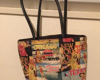 Purse pictorial Wilsons leather pelle studio shoulder bag with inside pockets, zipper, medium-size no flaws, Black lining freestanding