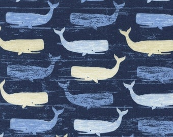 Whales Beach-C3502-Blue - COASTAL and BEACH - Timeless Treasures Fabric - By the Yard