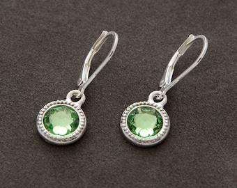 August Birthstone Earrings, Silver Swarovski Crystal Birthstone Jewelry, Light Green Peridot Earrings, August Peridot Jewelry